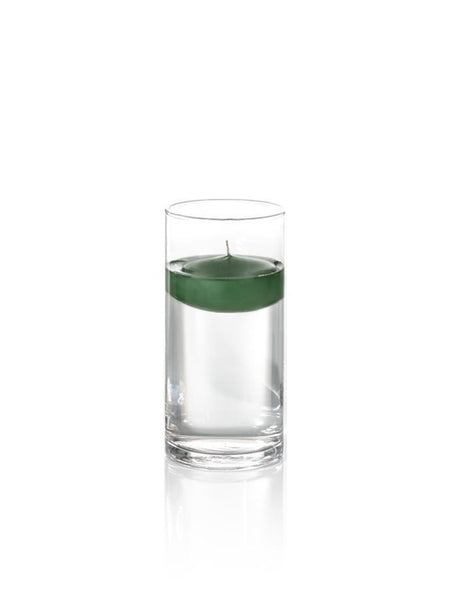"3"" Floating Candles and 7.5"" Cylinder Vases Hunter Green"