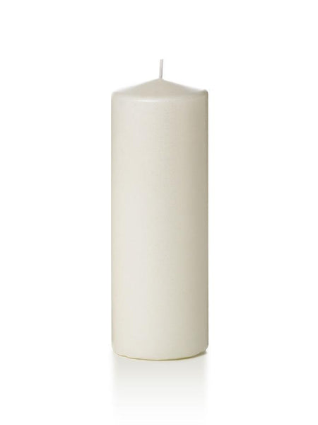 "3"" x 8"" Pearlescent Pillar Candles White"