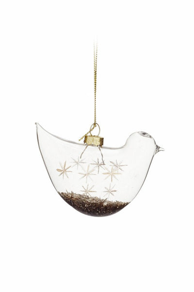 Xmas Orn Glass Bird Cl-gd 3''