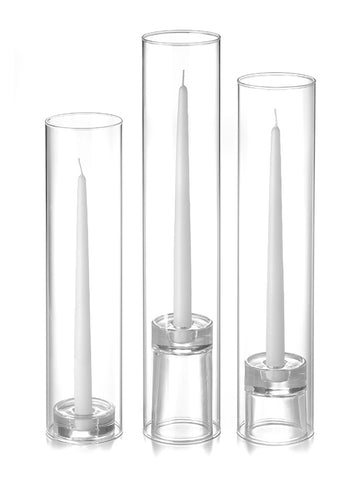 12 Taper Candles, 12 Glass Chimneys and 12 Glass Taper Holders