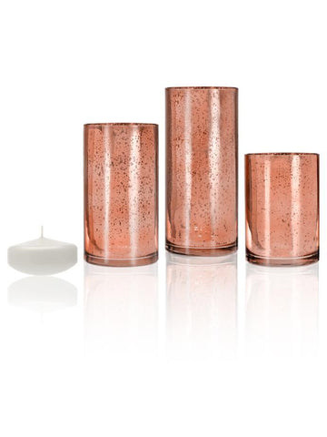 "3"" Floating Candles and Rose Gold Metallic Cylinders White"