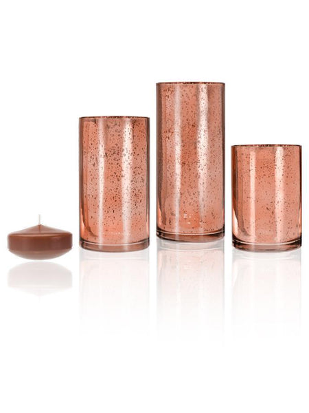 "3"" Floating Candles and Rose Gold Metallic Cylinders Toffee"