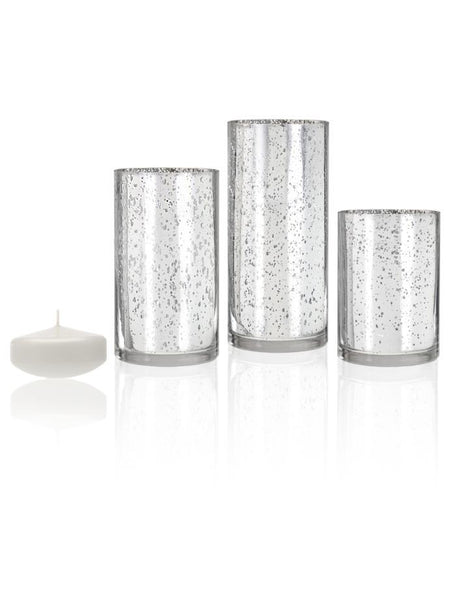 "3"" Floating Candles and Silver Metallic Cylinders White"