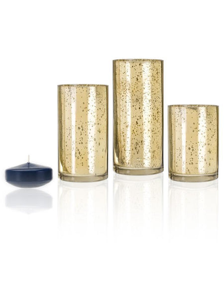 "3"" Floating Candles and Gold Metallic Cylinders Navy Blue"