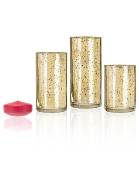 "3"" Floating Candles and Gold Metallic Cylinders Paradise Pink"