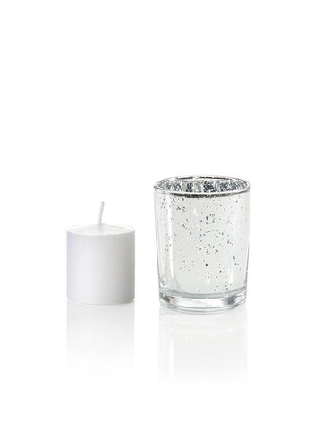 10 Hour Votive Candles And Metallic Candle Holders Silver Metallic
