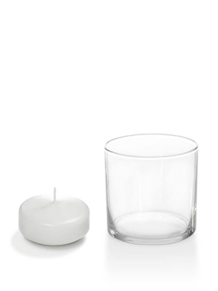 "2.25"" Floating Candles And Cylinder Holders White"