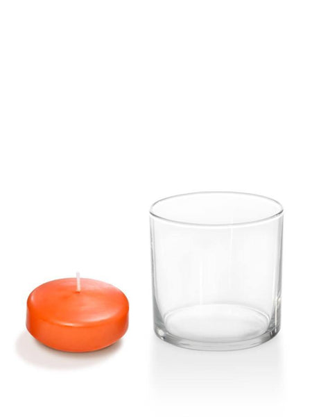 "2.25"" Floating Candles And Cylinder Holders Bright Orange"