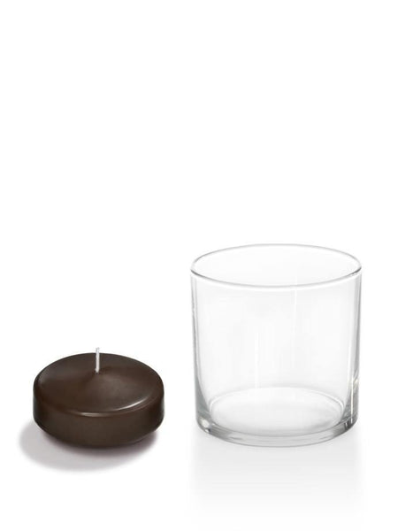 "2.25"" Floating Candles And Cylinder Holders Chocolate"