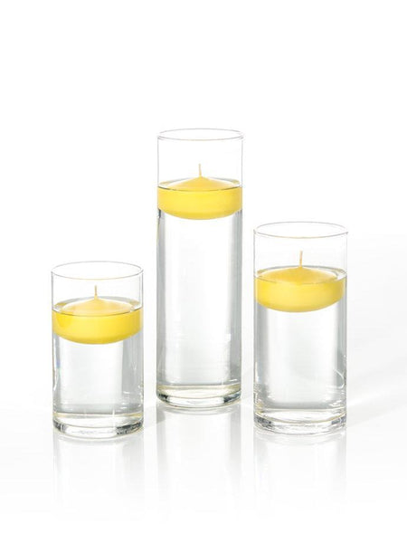 "3"" Floating Candles and Cylinder Vases Bright Yellow"