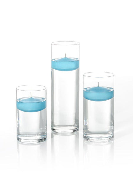 "3"" Floating Candles and Cylinder Vases Caribbean Blue"