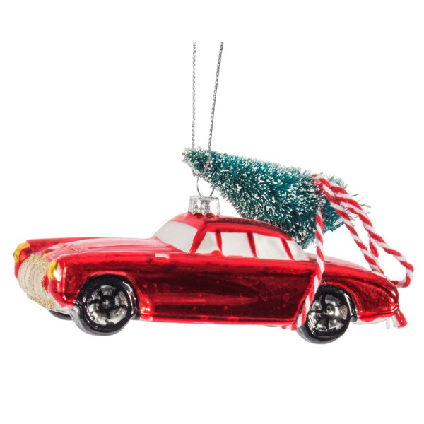 ORN-RED CAR W- TREE 5in