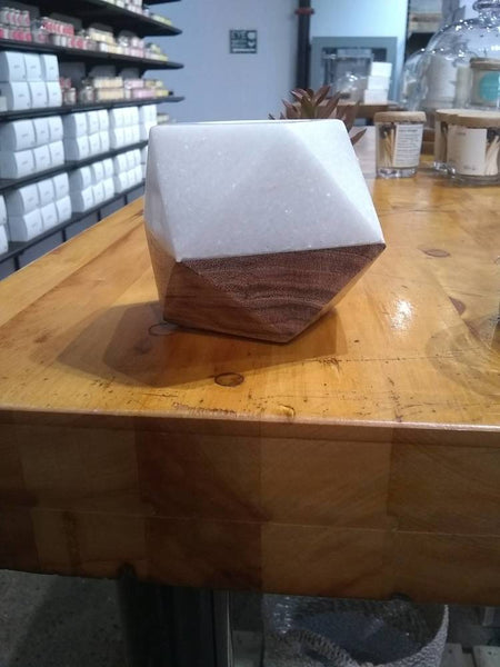 Marble & Wood Tealight Holder - 4 X 4 X 3 - White