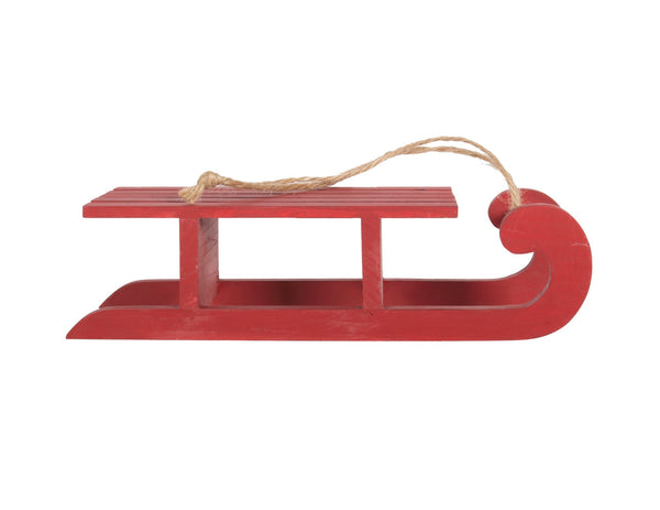 ORN-WOOD RED SLED 10in
