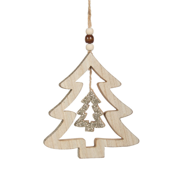ORN-WOOD TREE GOLD 5in