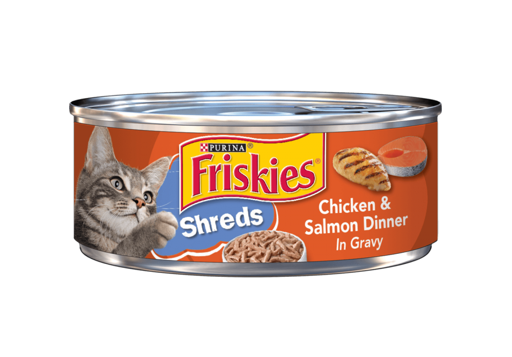 Friskies Savory Shreds Chicken And Salmon Dinner In Gravy Canned Cat Food