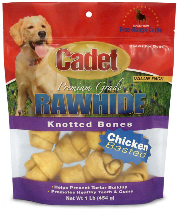 Cadet Rawhide Chicken Flavor Knotted Bones for Dogs