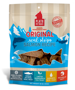 Plato All Natural Salmon Strips Dog Treats