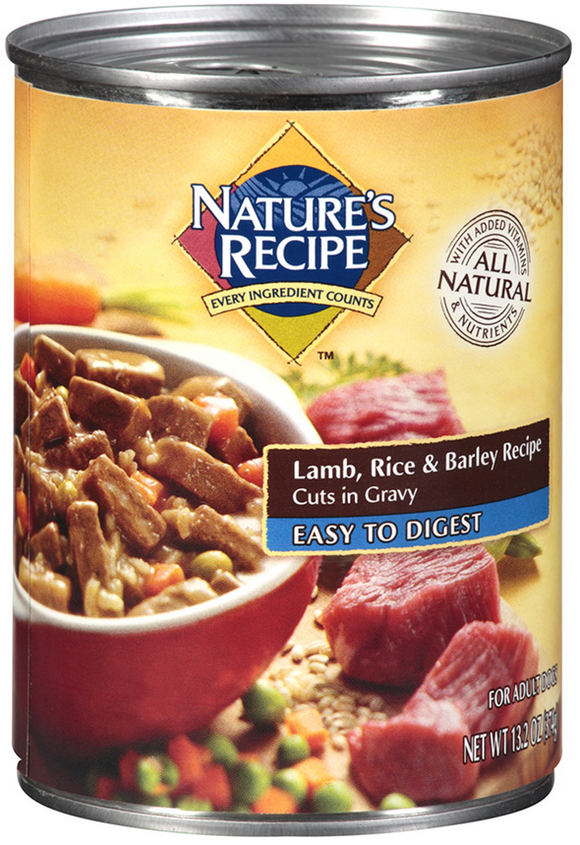 Nature's Recipe Easy to Digest Lamb Rice and Barley Cuts in Gravy Canned Dog Food