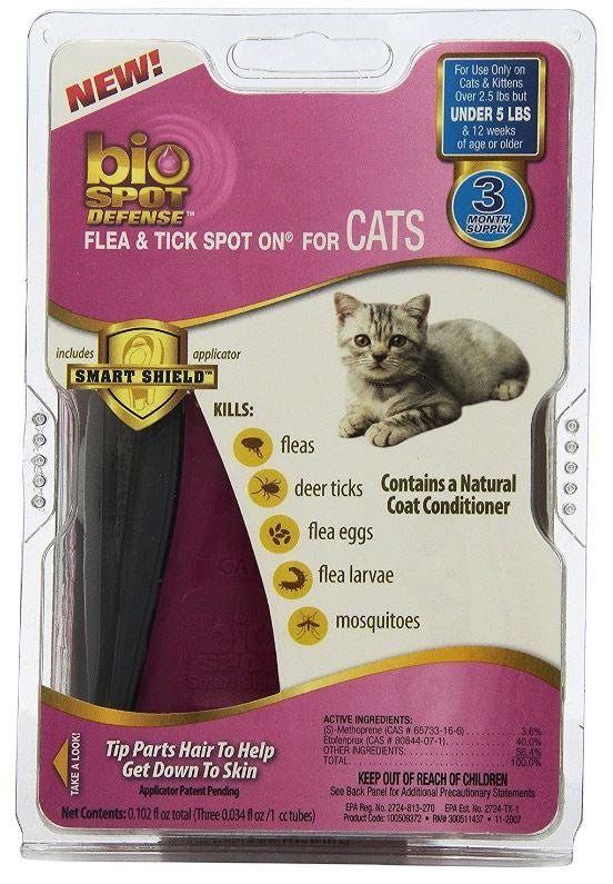 bioSPOT Spot On Flea and Tick Control for Cats Under 5 lbs