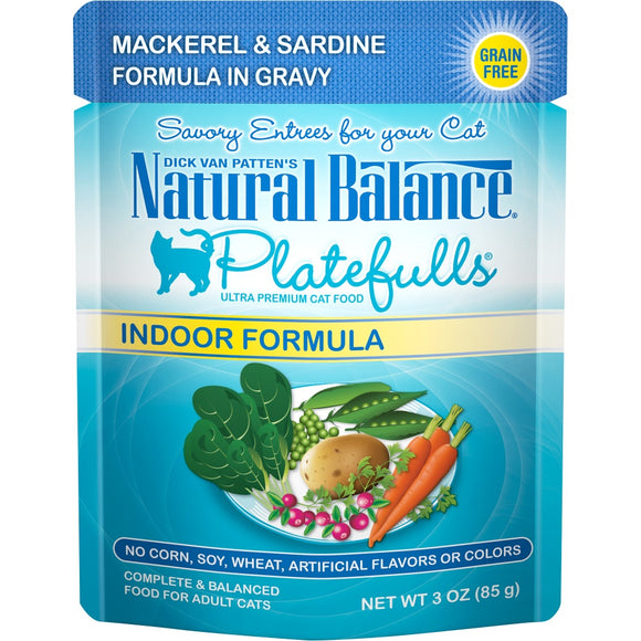 Natural Balance Platefulls Indoor Grain Free Mackerel and Sardine in Gravy Pouch Wet Cat Food