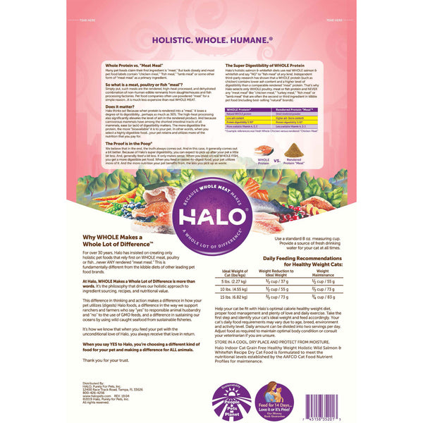 Halo Indoor Grain Free Healthy Weight Holistic Wild Salmon & Whitefish Recipe Dry Cat Food