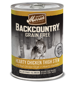 Merrick Backcountry Grain Free Hearty Chicken Thigh Stew Canned Dog Food