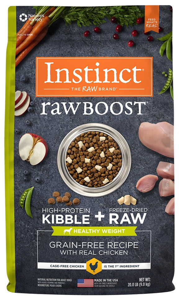 Instinct Raw Boost Healthy Weight Adult Grain Free Recipe with Real Chicken Natural Dry Dog Food