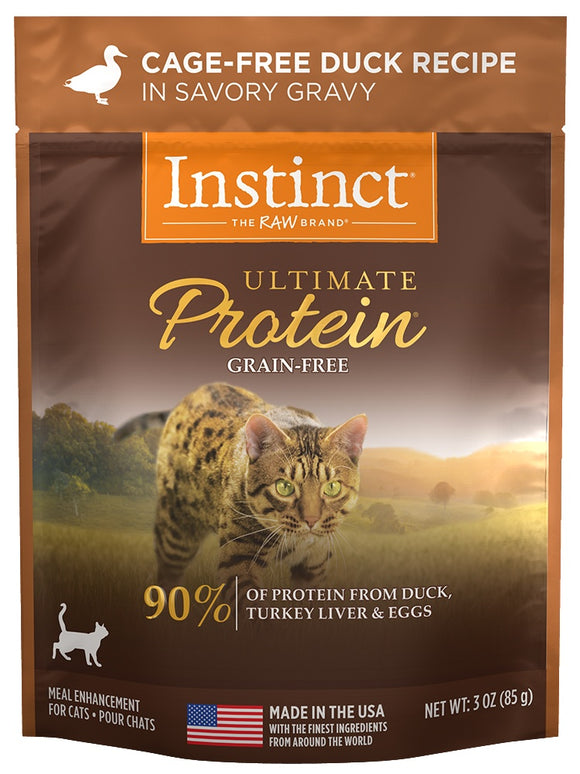 Instinct Ultimate Protein Grain Free Cage Free Duck Recipe Wet Cat Food Topper Pouch
