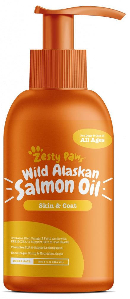 Zesty Paws Natural Skin & Coat Support Pure Wild Alaskan Salmon Oil for Dogs & Cats