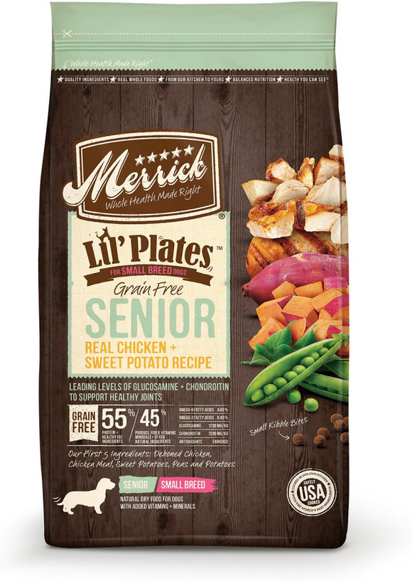 Merrick Lil' Plates Grain Free Senior Real Chicken And Sweet Potato Recipe Dry Dog Food