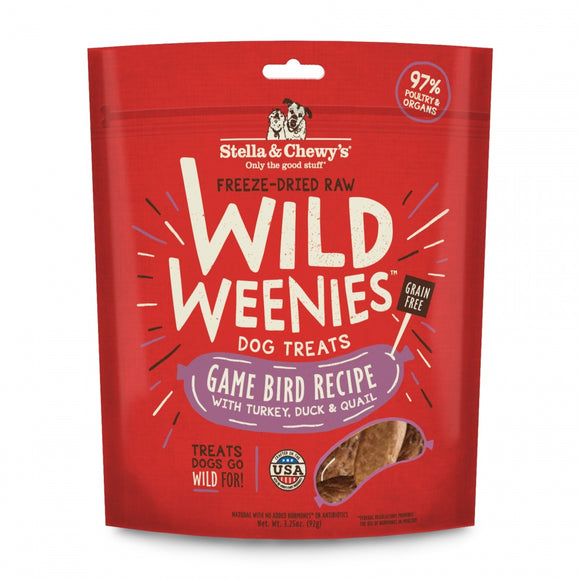Stella & Chewy's Wild Weenies Grain Free Red Game Bird Recipe Freeze Dried Raw Dog Treats