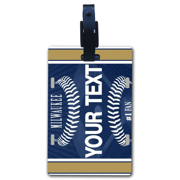 BRGiftShop Personalize Your Own Baseball Team New York Blue Luggage Tag with Address Card Holder