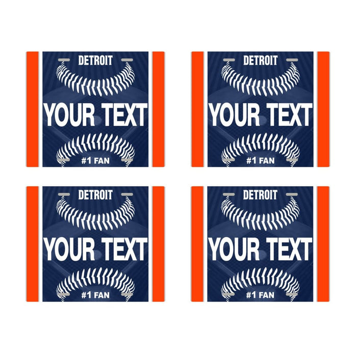 Personalize Your Own Baseball Team Set of 4 Square Beverage Coasters
