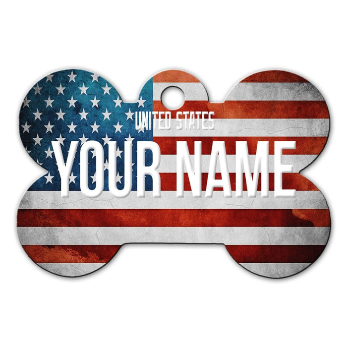 e41b8f706afa Personalize Your Own Country Flag Bone Shaped Metal Pet ID Tag with Contact  Information