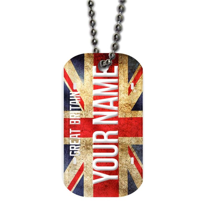 BRGiftShop Personalize Your Own Football Team New England Single Sided Metal Military ID Dog Tag with Beaded Chain