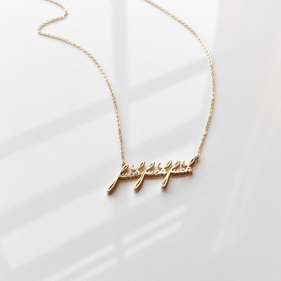 Fuck Fuck Fuck 14K Gold Vermeil Necklace
