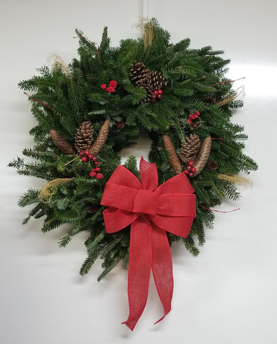 Natural Bliss Red Burlap Wreath