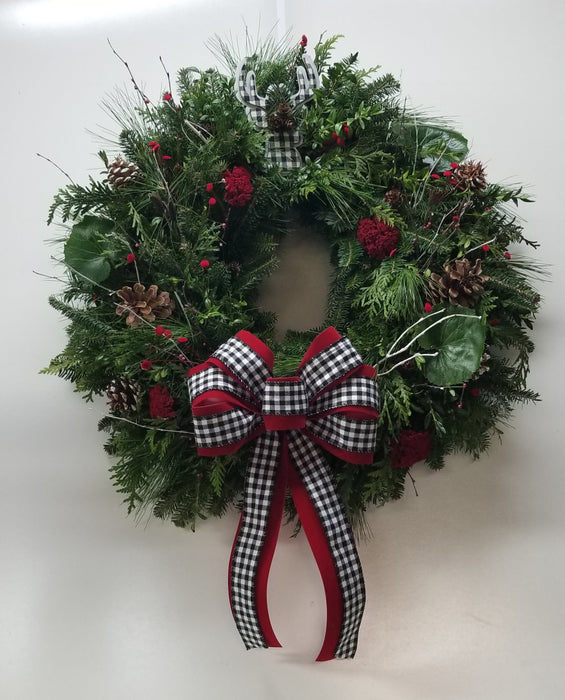 Gingham Christmas Woodland Wreath