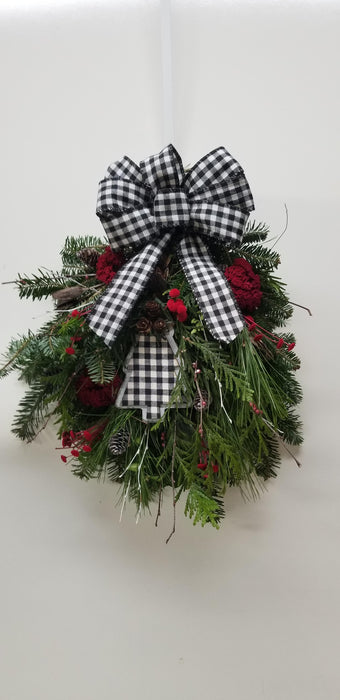 Gingham Christmas Woodland Swag