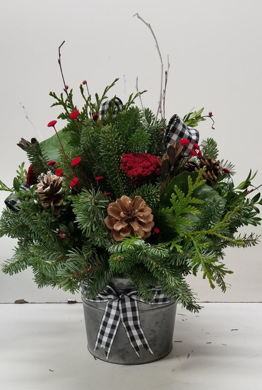 Gingham Christmas Woodland Arrangments