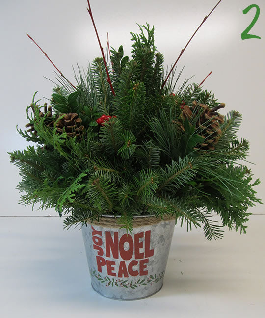 Joy, Noel and Peace Galvanized Tin Arrangements