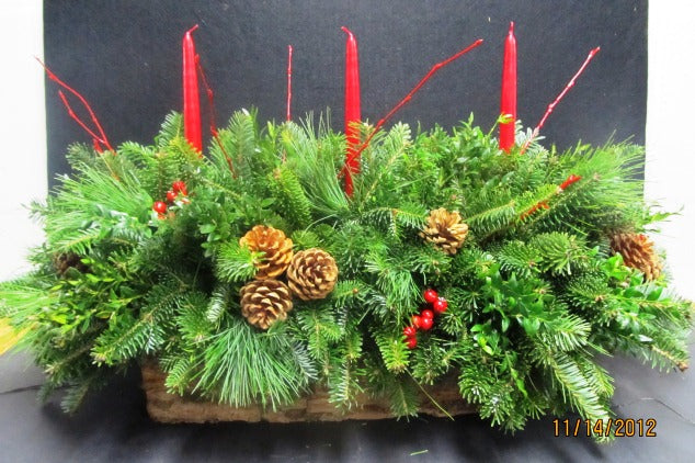 "46-48"" Centerpiece in Pine Bark Box"