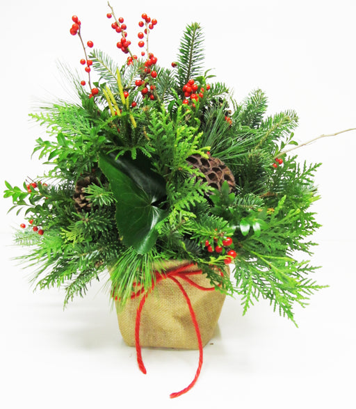 Christmas Burlap Sack Arrangement