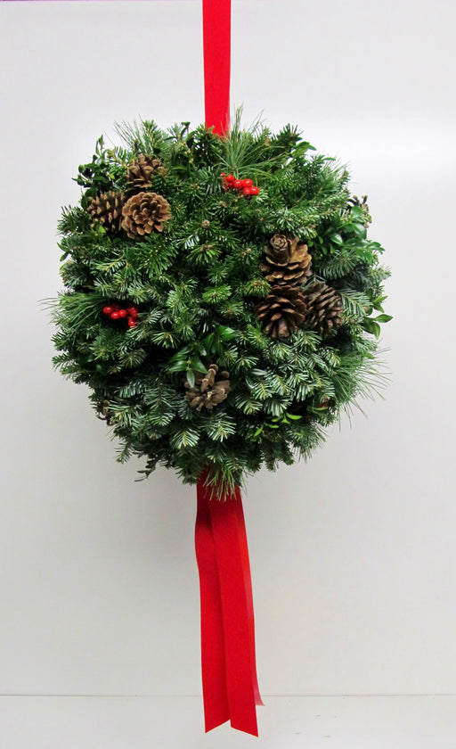 "14-16"" Christmas Ball With Natural Pine Cones"