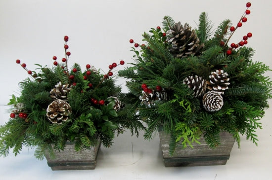 Christmas Time Distressed Barnwood Box Arrangement