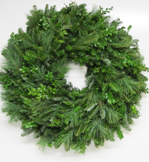 Single Face Fraser Fir, White Pine & Boxwood Wreath