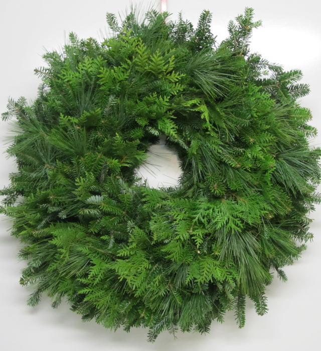 Single Face Fraser Fir, White Pine & Cedar Wreath
