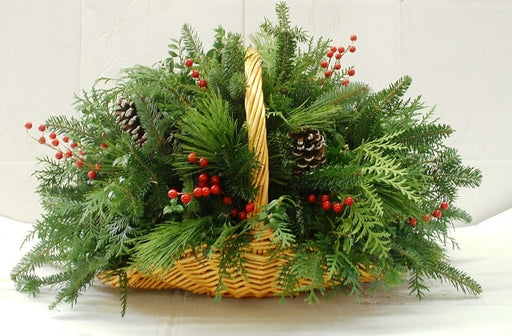 Fireside Greenery Basket Arrangement