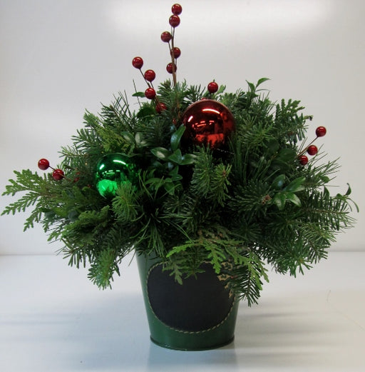 Holly Chalkboard Tin Can Arrangement